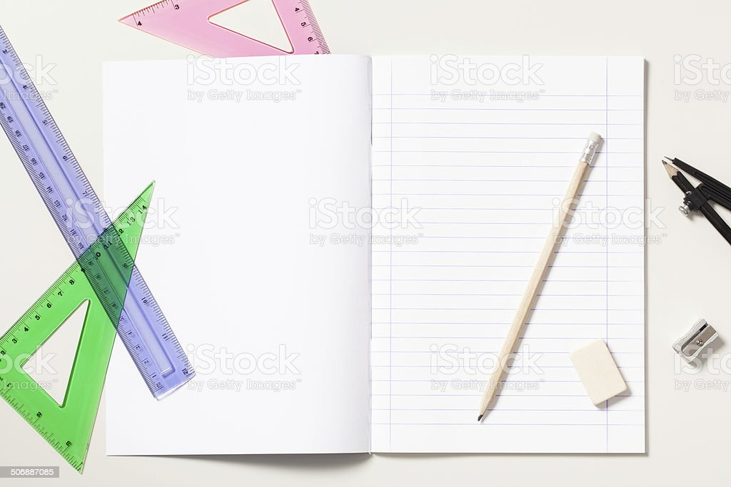 Notebook and School Supplies on a Desk royalty-free stock photo
