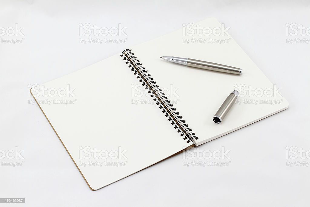 Notebook and Silver fountain pen royalty-free stock photo