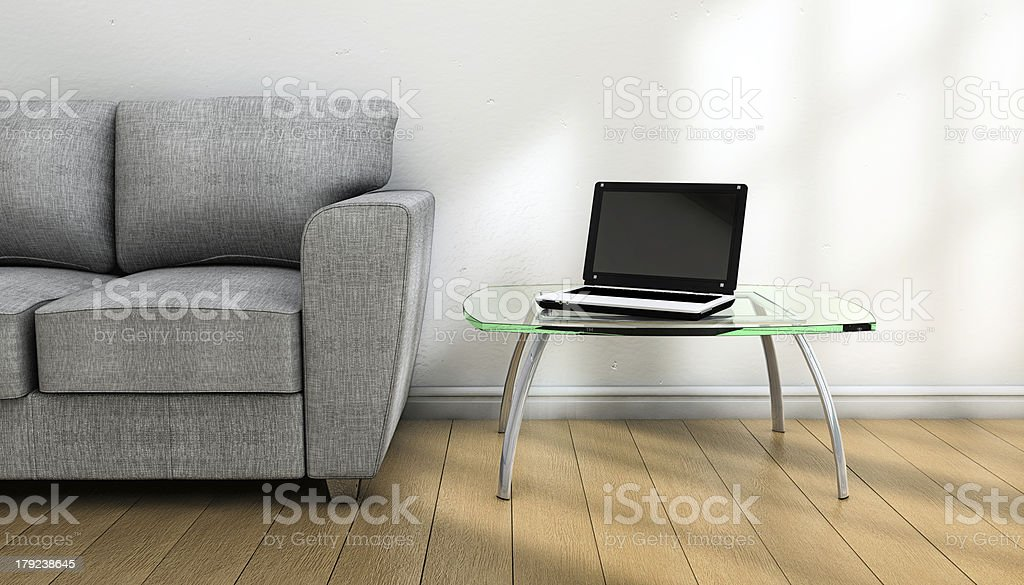 Notebook and sofa stock photo