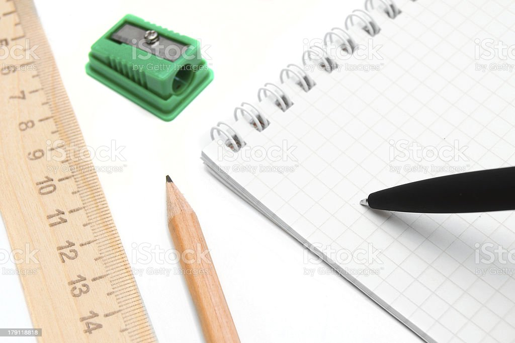 Notebook, and the writing goods. royalty-free stock photo