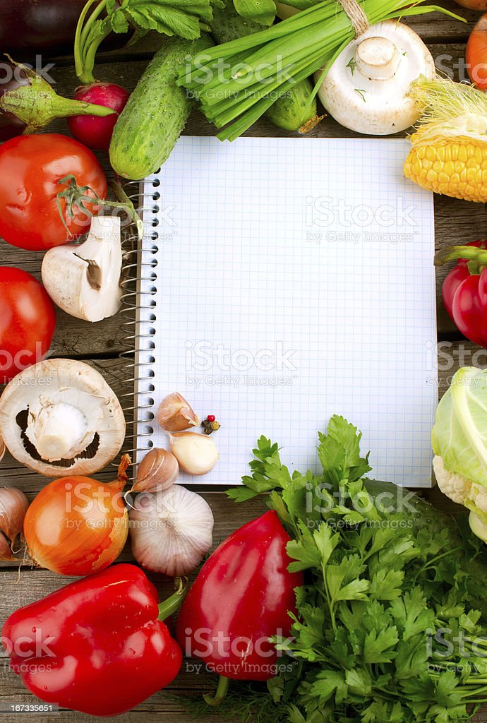 Notebook and Vegetables royalty-free stock photo