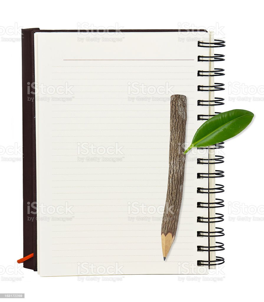 Notebook and wood pencil royalty-free stock photo