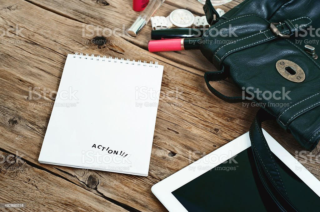 notebook bag with women and women cosmetics stock photo