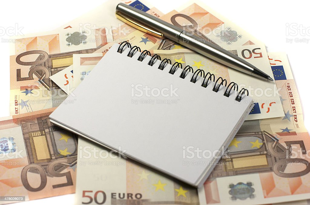 Notebook. Banknotes. Pen royalty-free stock photo