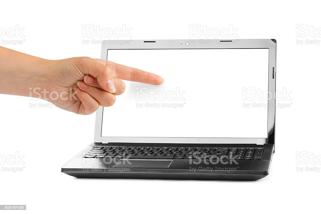 Notebook computer and pointing hand stock photo
