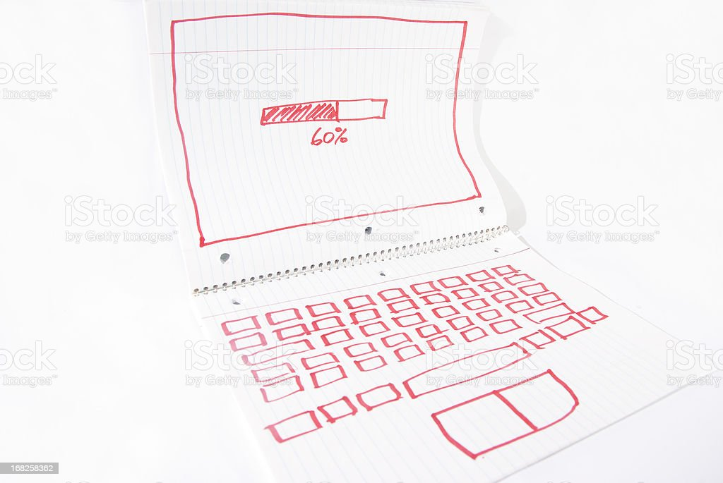 notebook computer concept in funny depiction stock photo