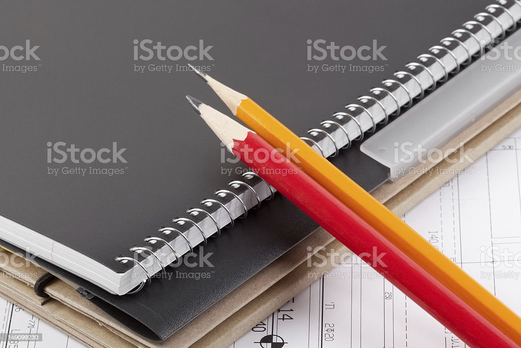 Notebook, folder and pencils. royalty-free stock photo