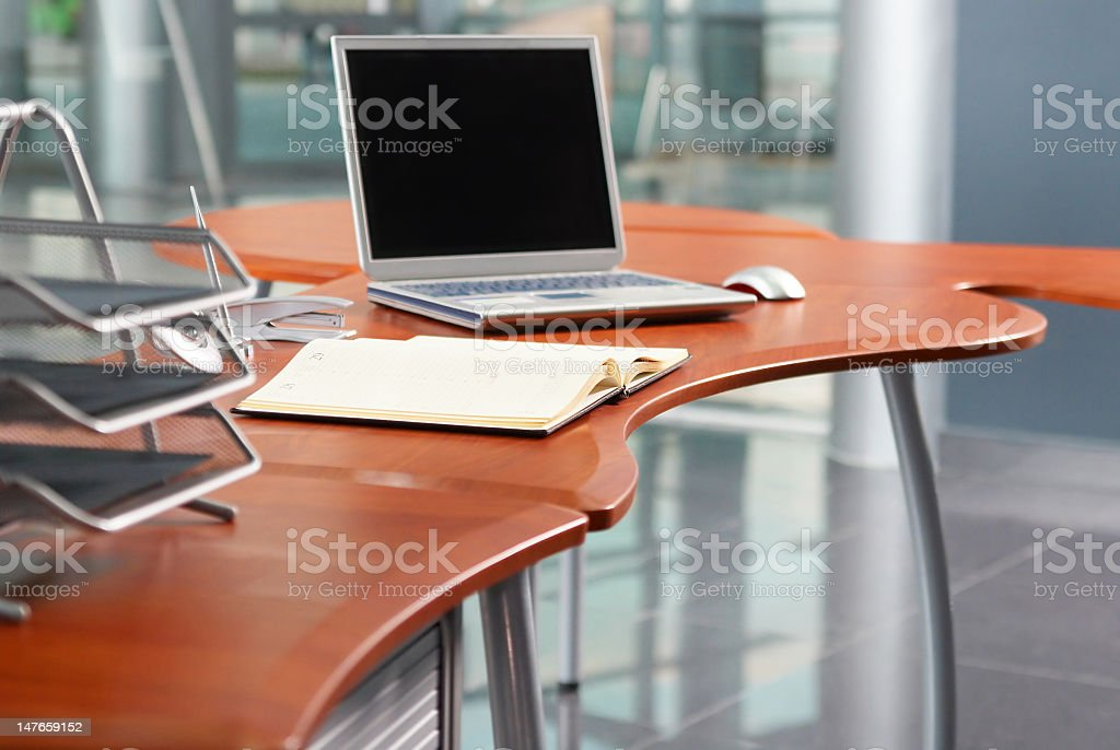 Notebook for planning at the modern office table. stock photo