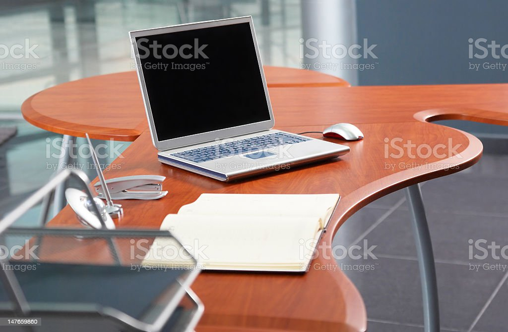 Notebook for planning at the modern office table stock photo