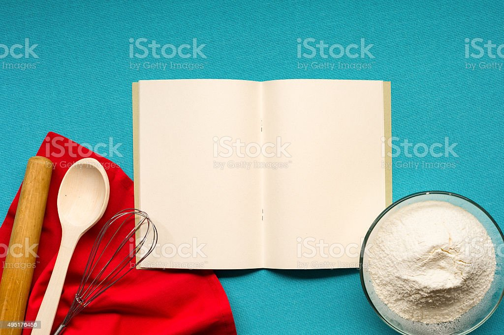 Notebook for recipes stock photo