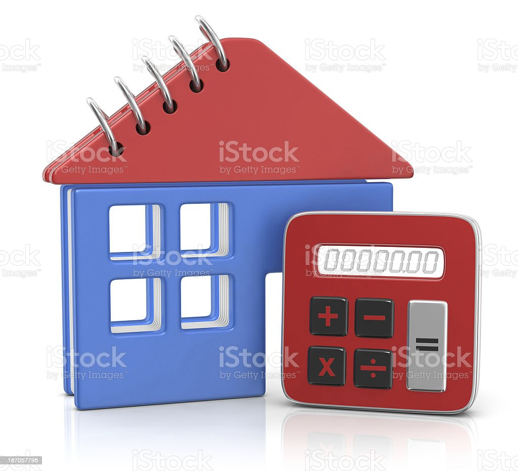 Notebook in the Form of a House and Calculator royalty-free stock photo