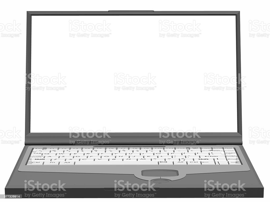 Notebook, Laptop with screen frame on a white background isolated stock photo