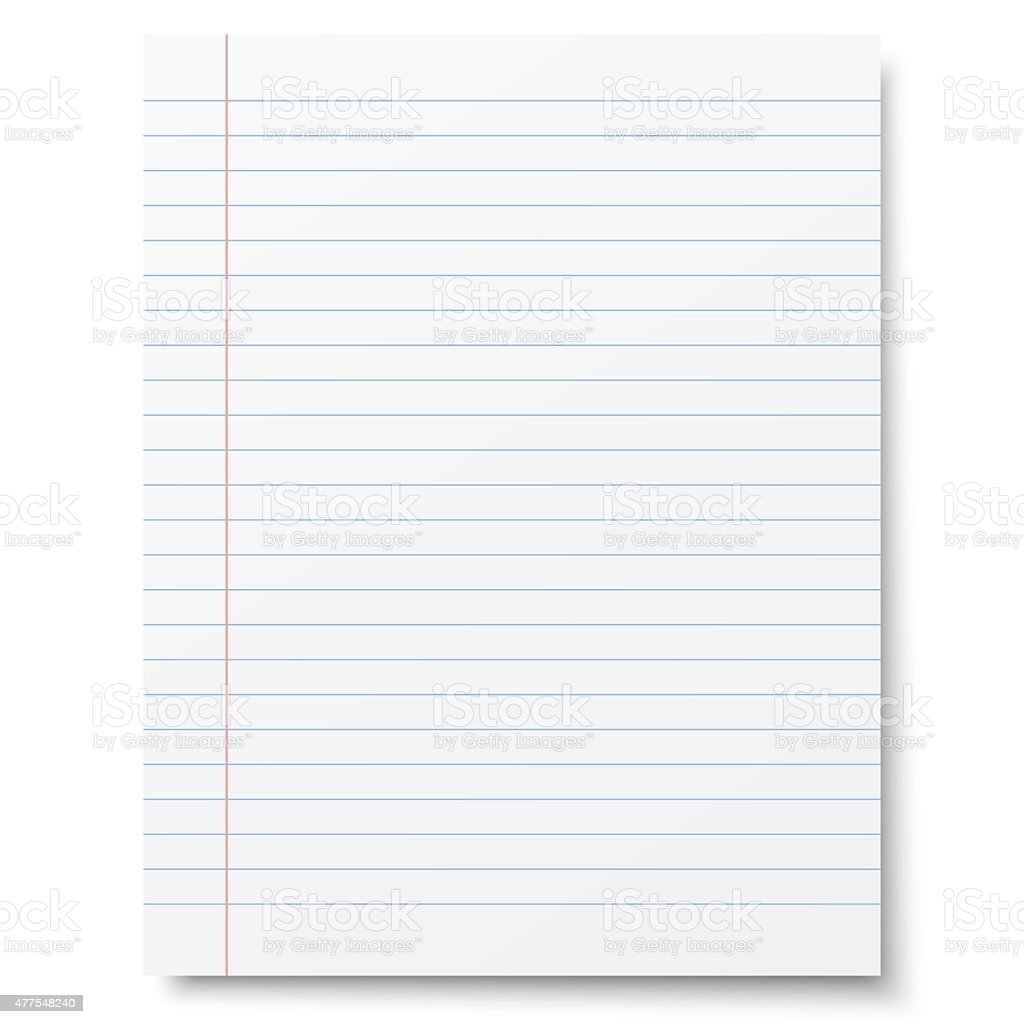 Notebook lined paper background stock photo