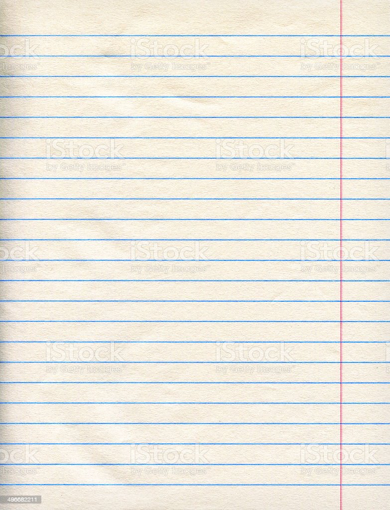 Notebook lined paper stock photo