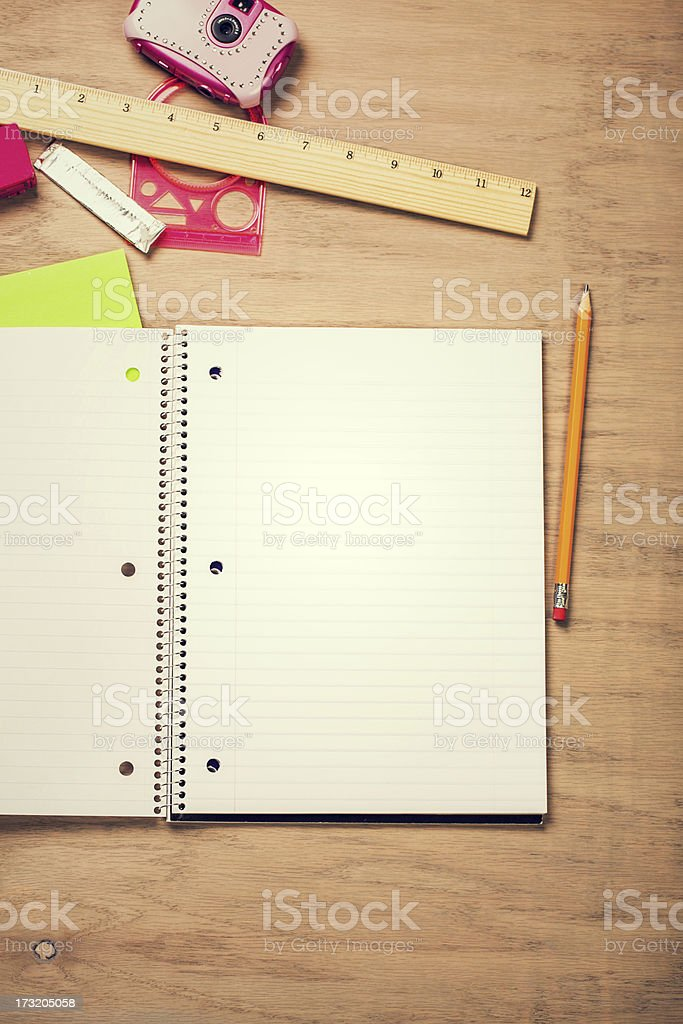 notebook on desk royalty-free stock photo