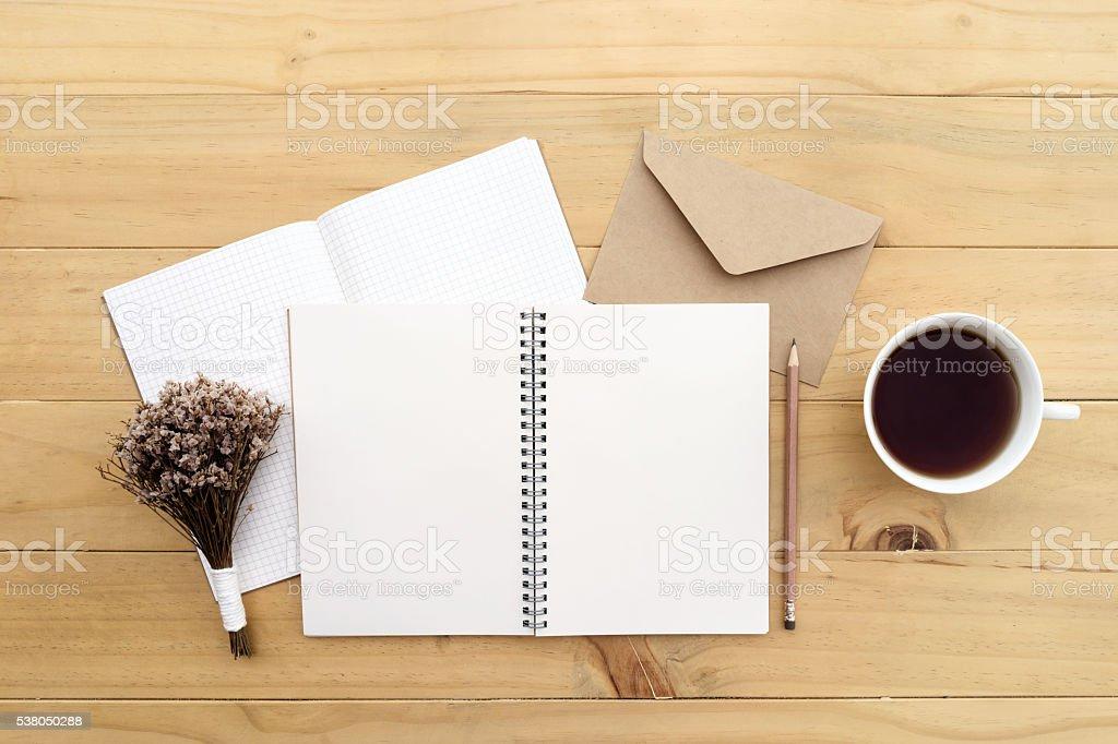 Notebook on desk stock photo