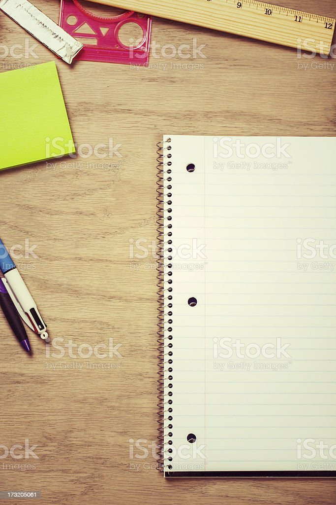 notebook on desk with copyspace royalty-free stock photo