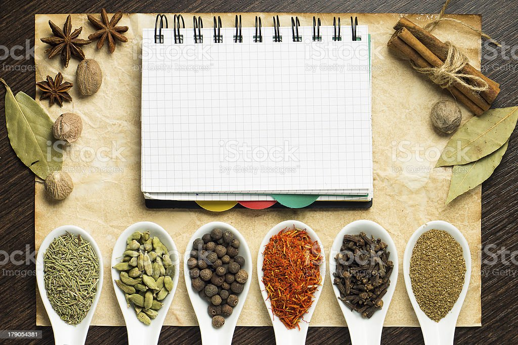 Notebook on old paper with various kinds of spices royalty-free stock photo