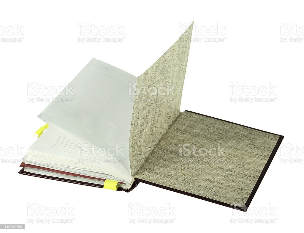 Notebook open on last page stock photo
