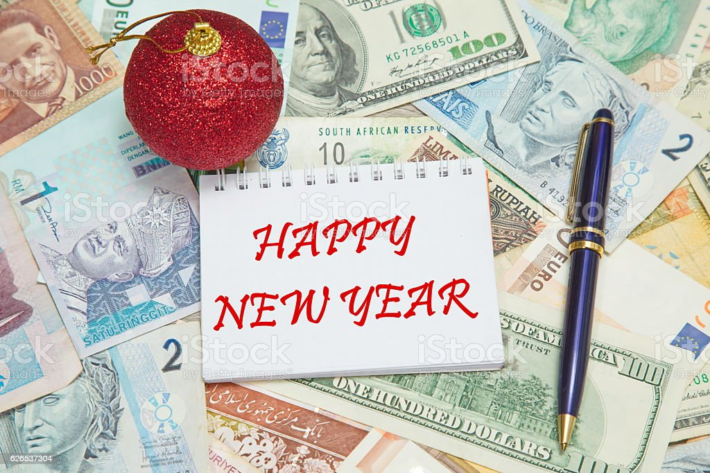 Notebook page with text HAPPY NEW YEAR stock photo