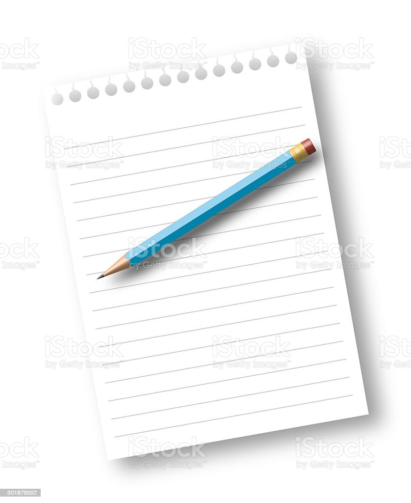 Notebook paper sheet with pencil stock photo