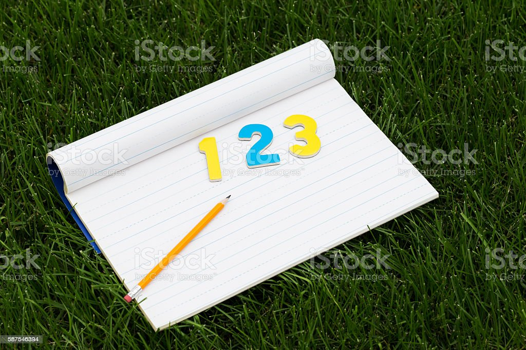Notebook Paper with Numbers and Pencil on Green Grass stock photo