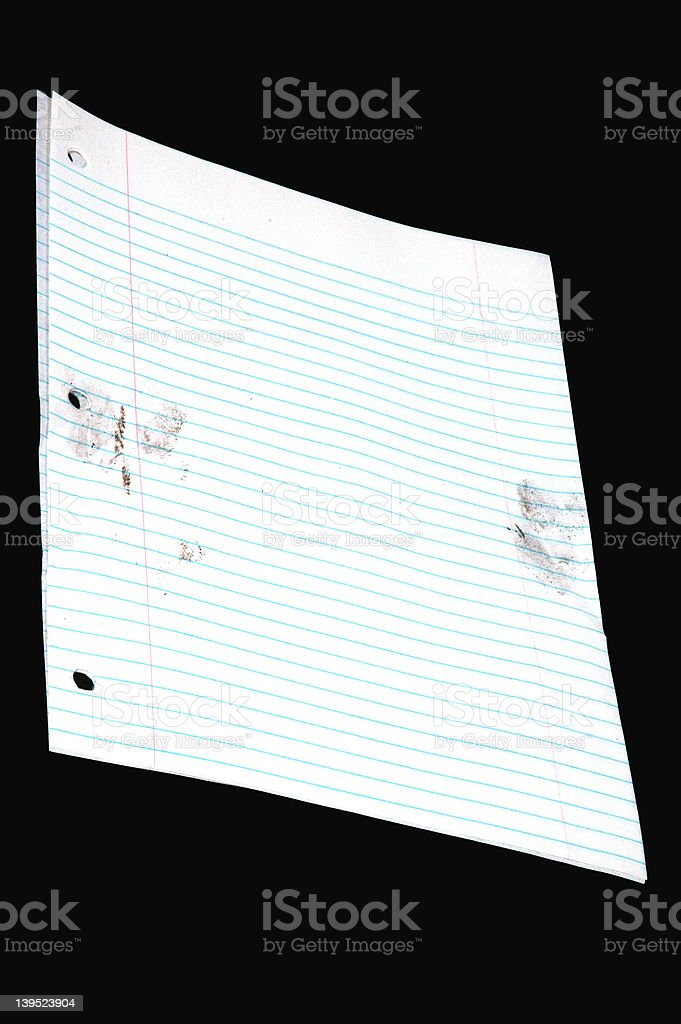 Notebook paper with prints-3 royalty-free stock photo
