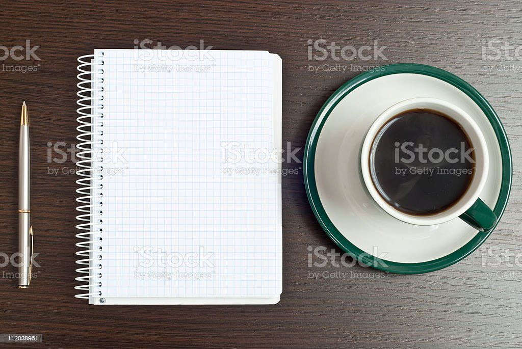 notebook, pen & coffee royalty-free stock photo