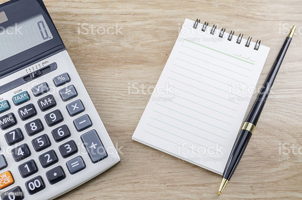 Notebook Pen And Calculator royalty-free stock photo