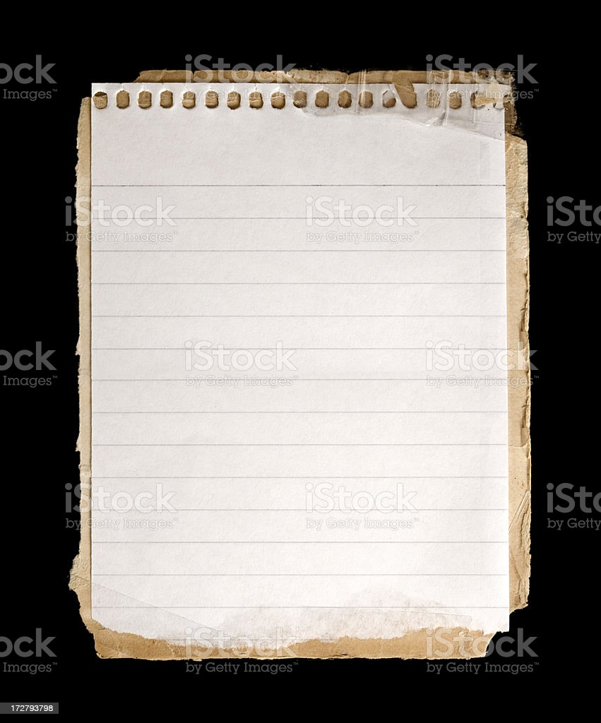 Notebook sheet w/Clipping Path royalty-free stock photo