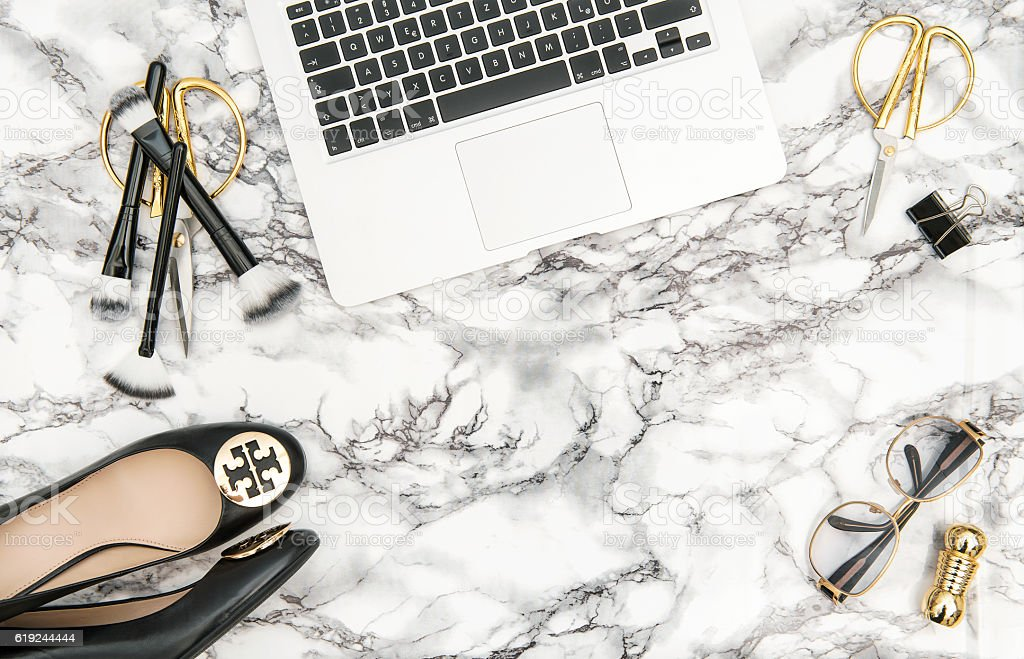 Charming Notebook Shoes Office Supplies Feminine Accessories Flat Lay Royalty Free  Stock Photo Part 24