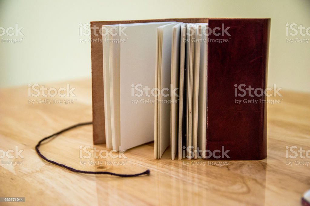 Notebook with a leather cover stock photo