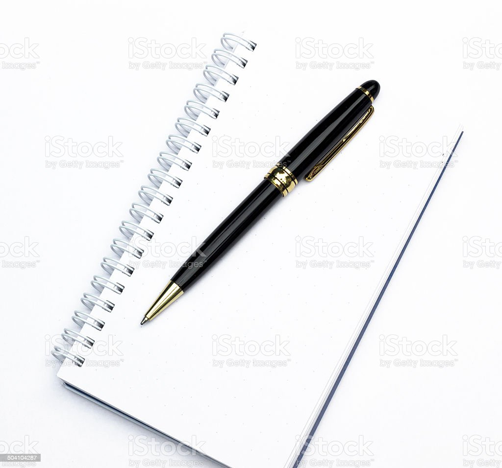 Notebook with a pen stock photo