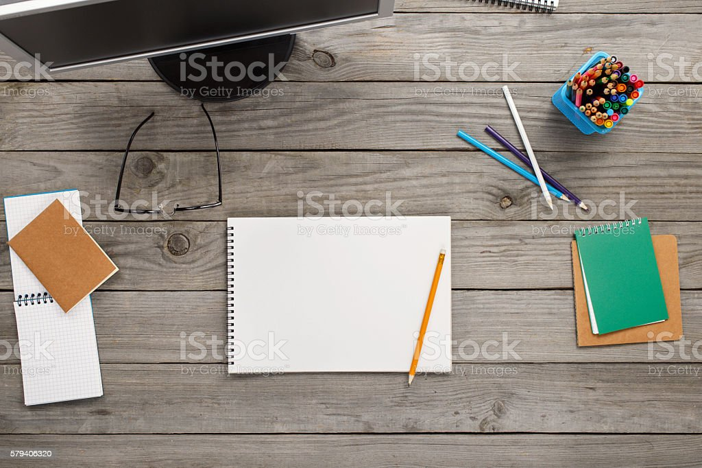 Notebook With Blank Pages On Wooden Table In Home Office stock photo