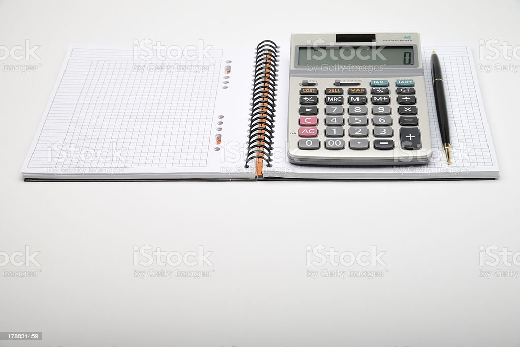Notebook with calculator royalty-free stock photo