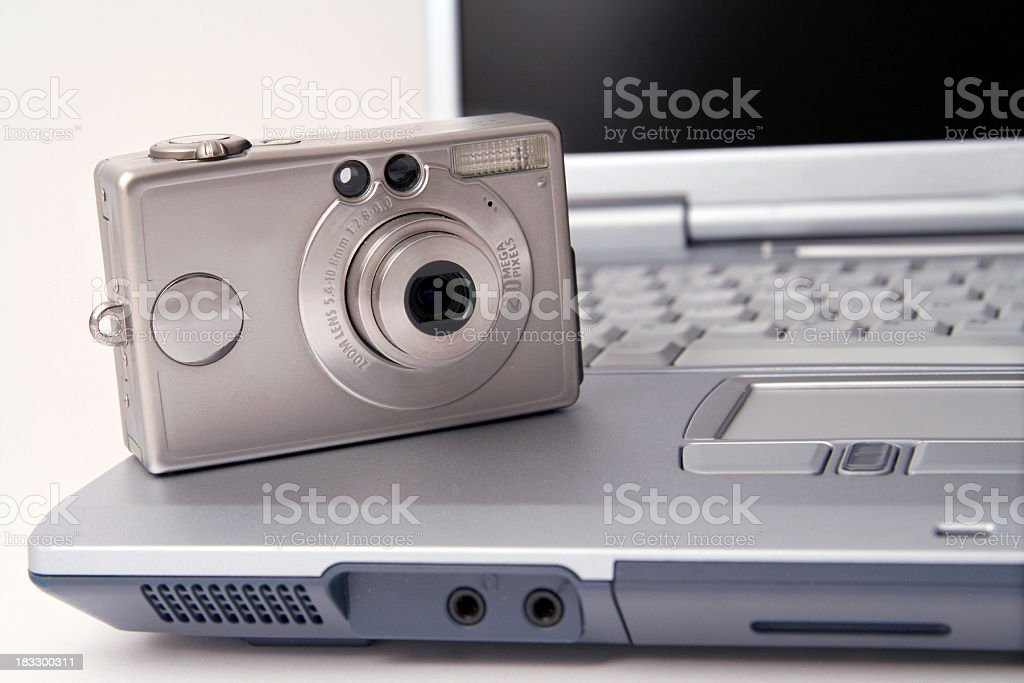 Notebook with camera stock photo