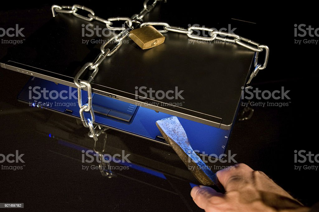 notebook with chain royalty-free stock photo
