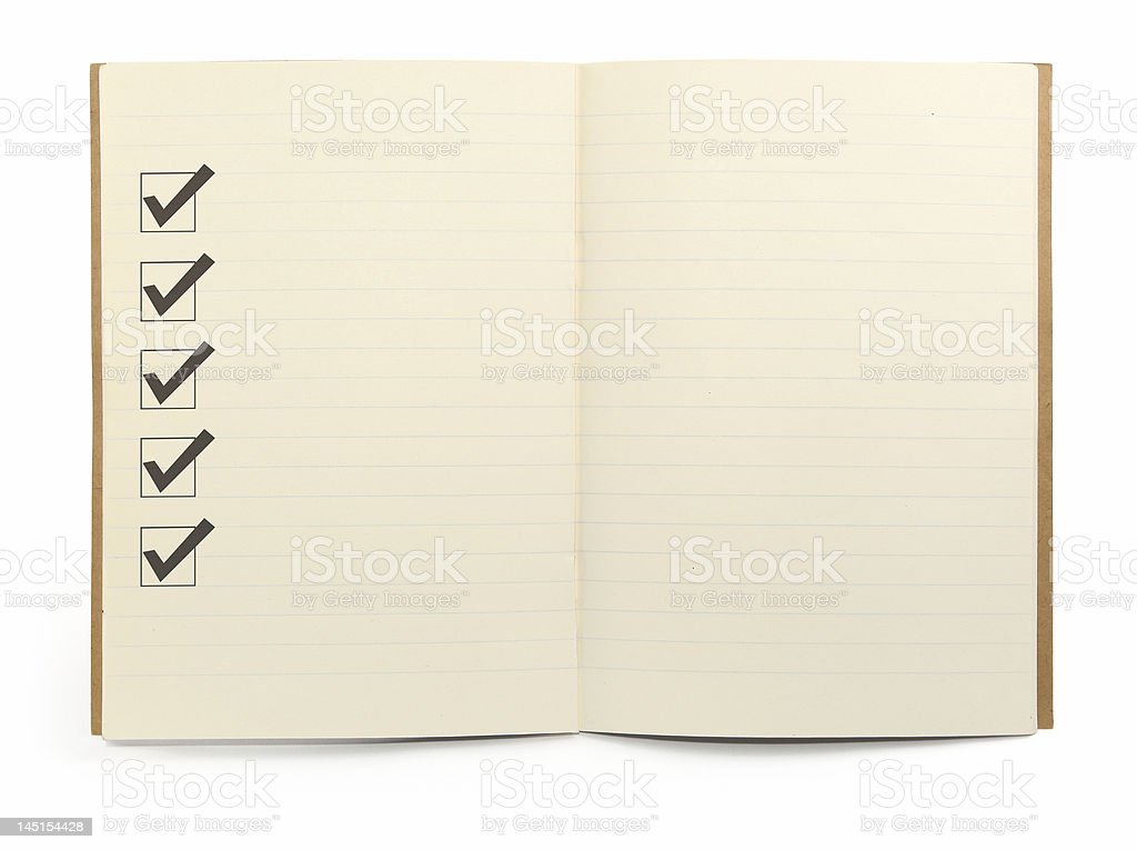 notebook with checklist stock photo