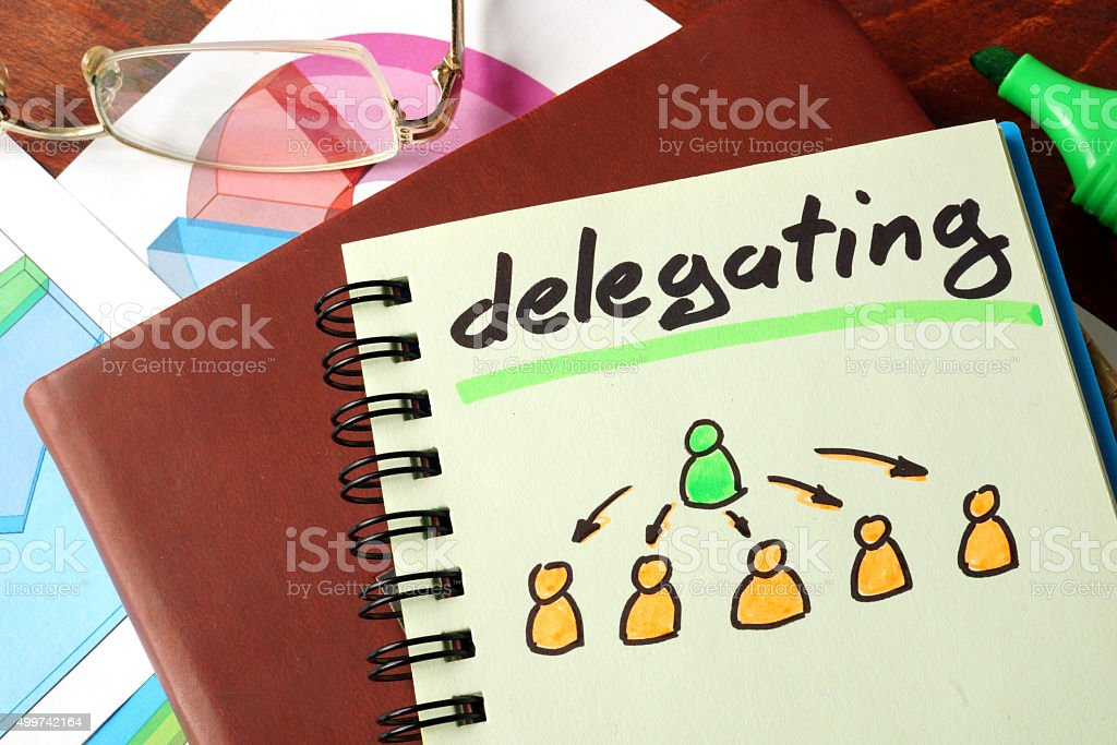 Notebook with  delegating sign on a table. Business concept. stock photo