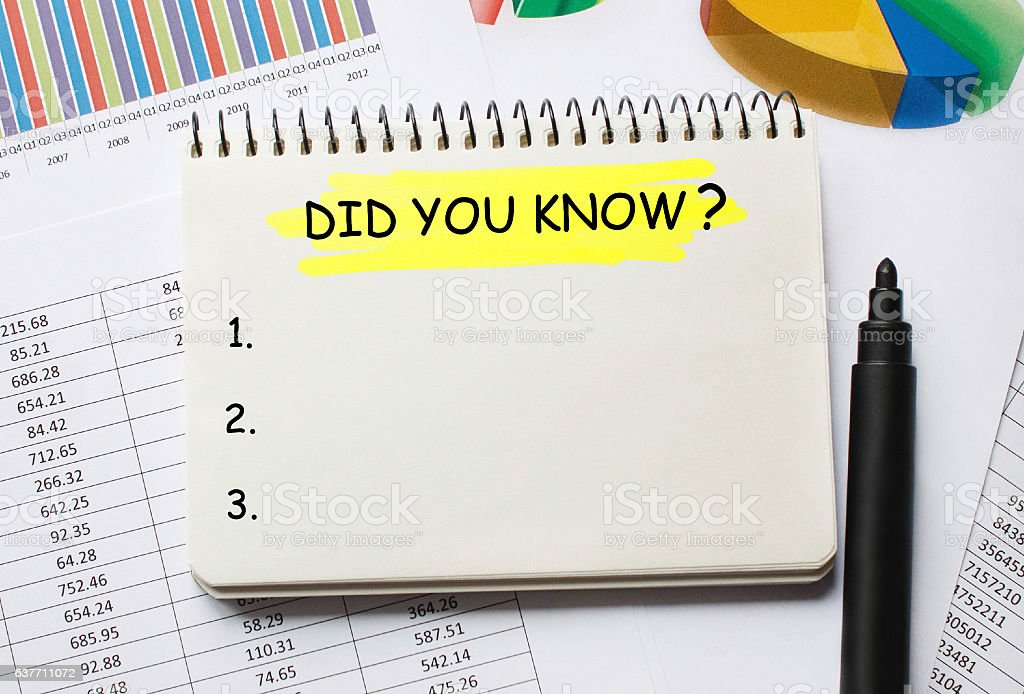 Notebook with Did You Know? stock photo