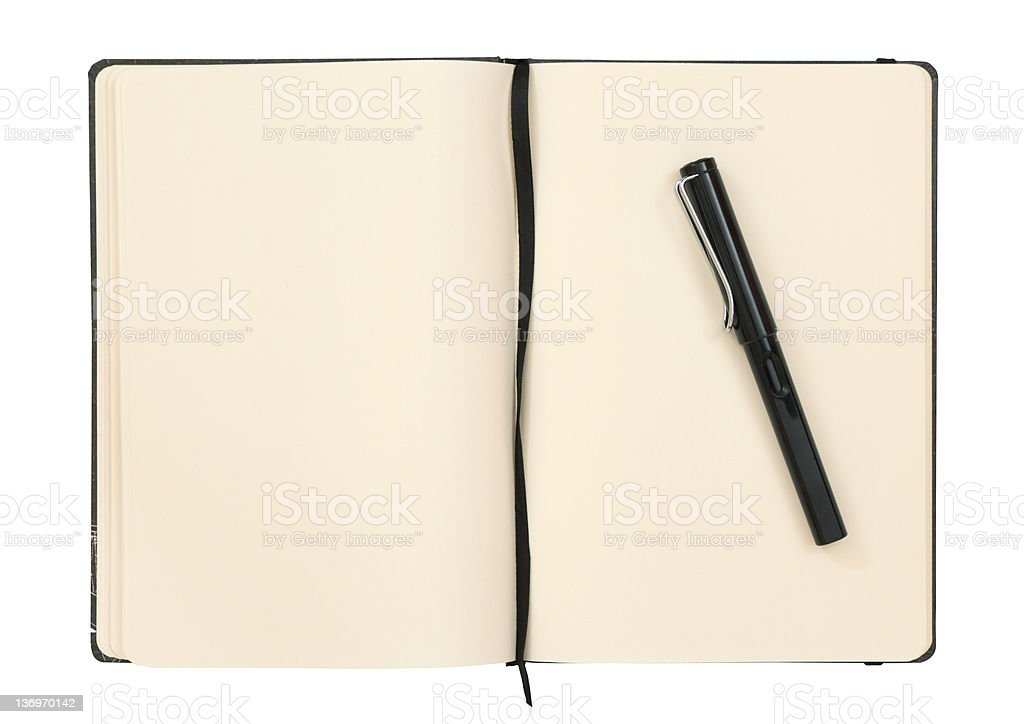 Notebook with fountain pen stock photo
