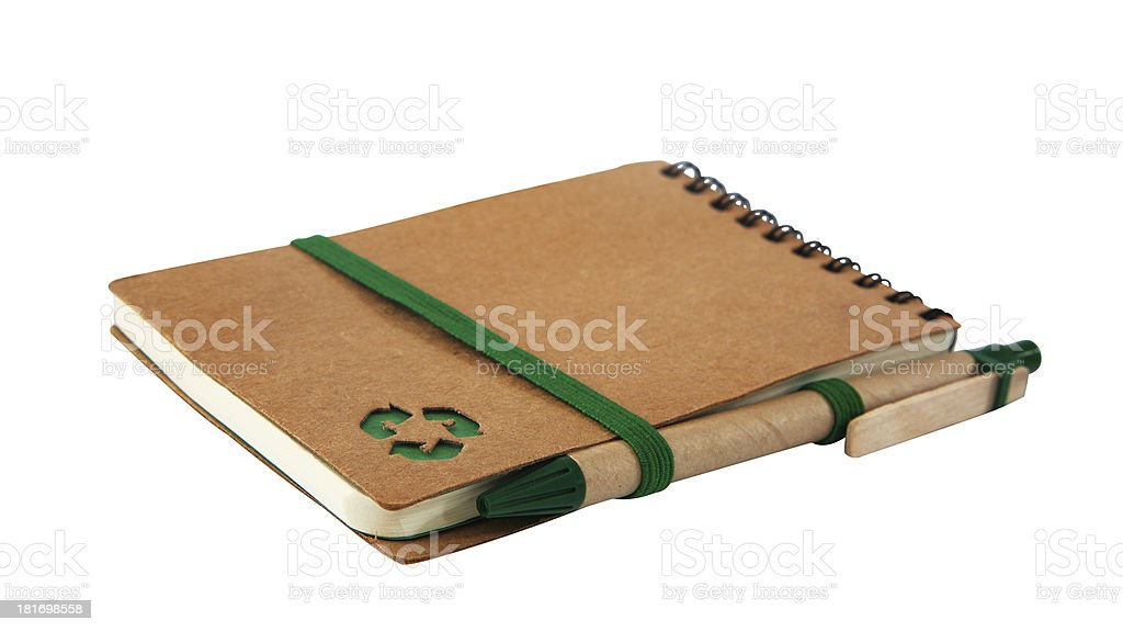Notebook with green recycle icon and Pen royalty-free stock photo