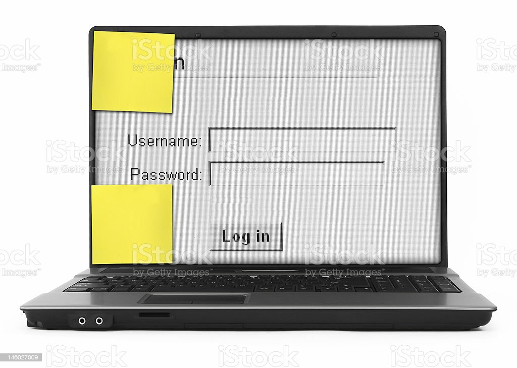 notebook with log in screen royalty-free stock photo