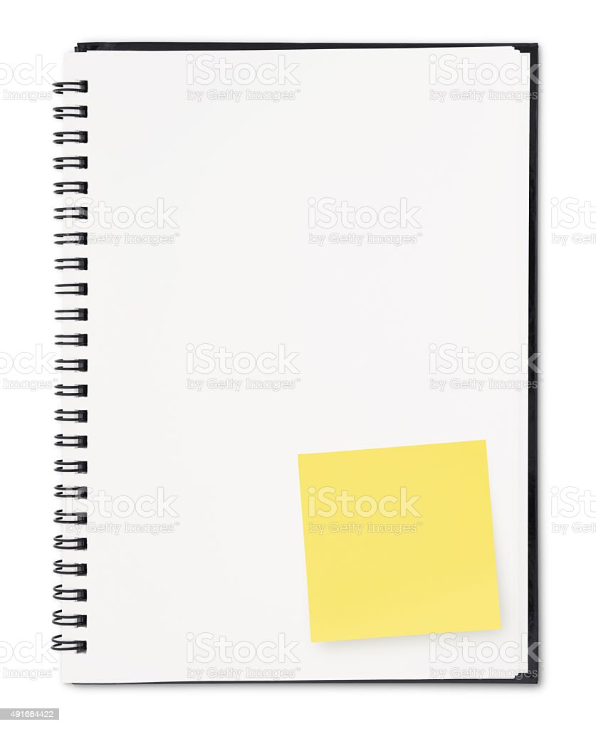 Notebook with note (with path) stock photo