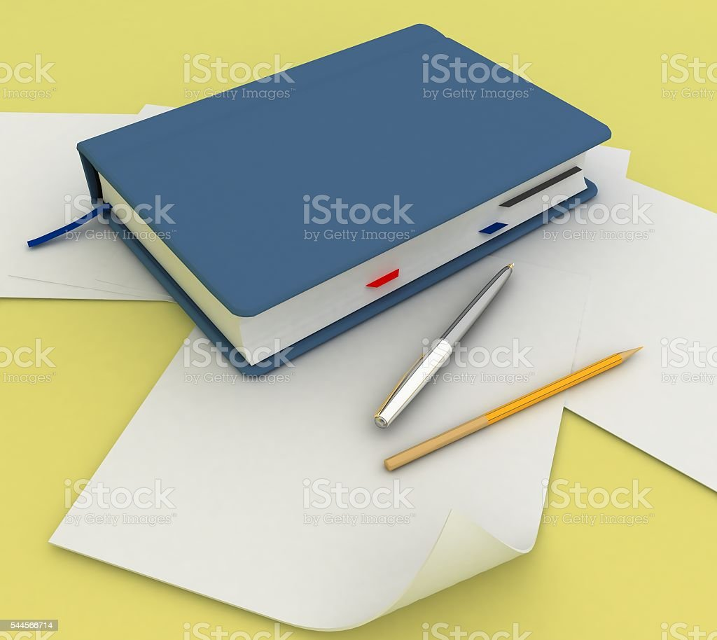 Notebook with pen and pensil stock photo