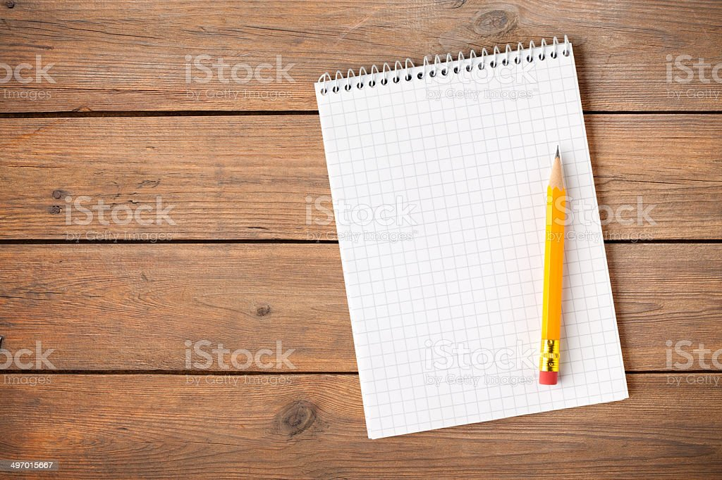 Notebook with pencil stock photo