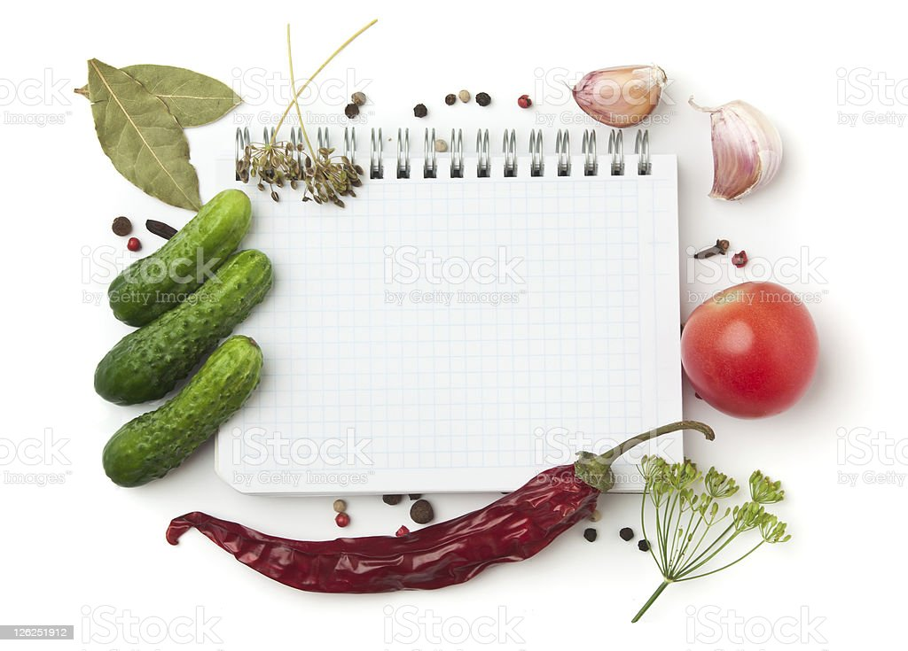 Notebook with recipes stock photo