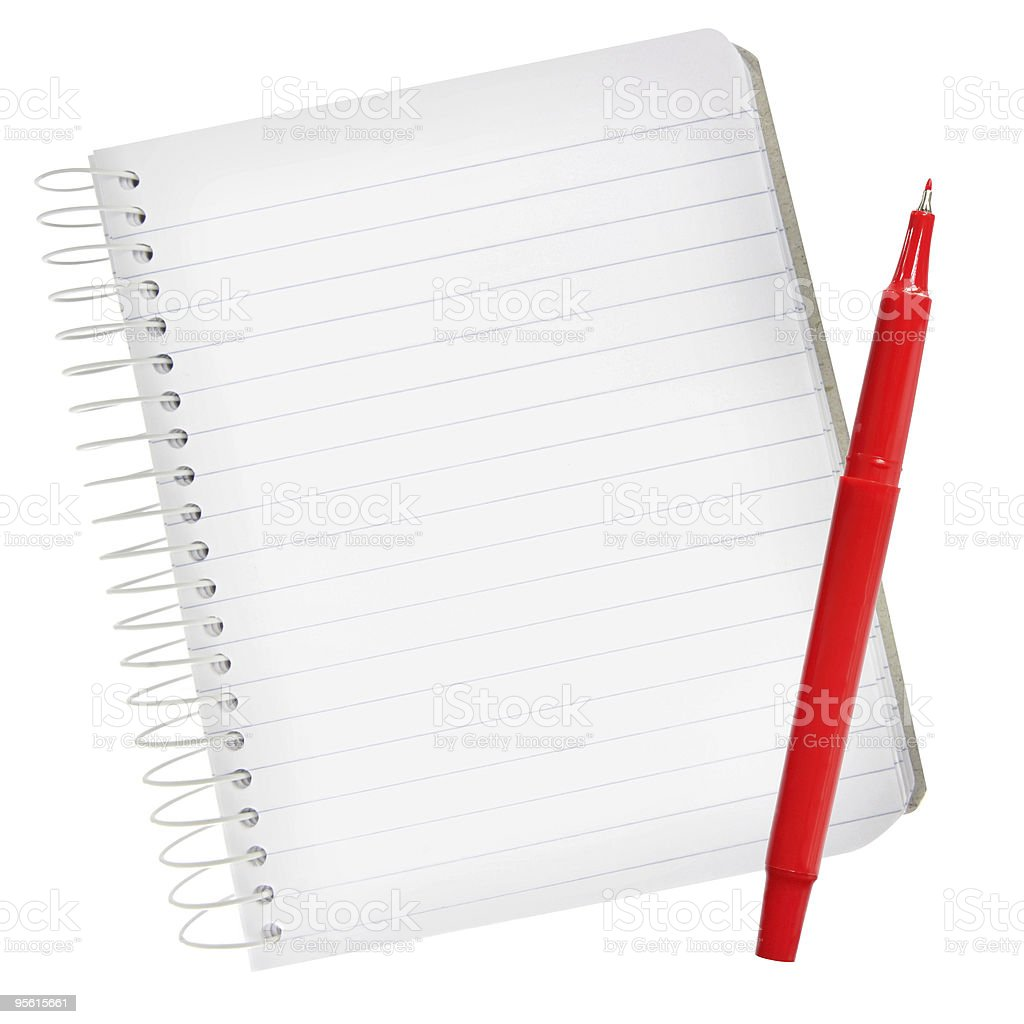 Notebook with Red Pen stock photo