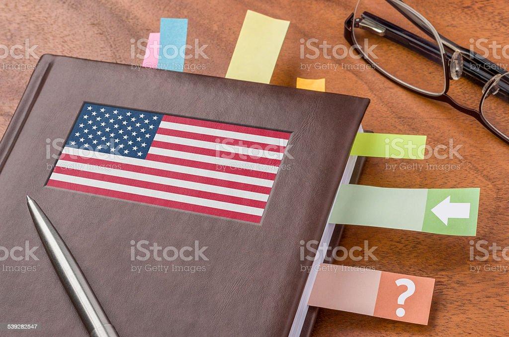 Notebook with the flag of the USA stock photo