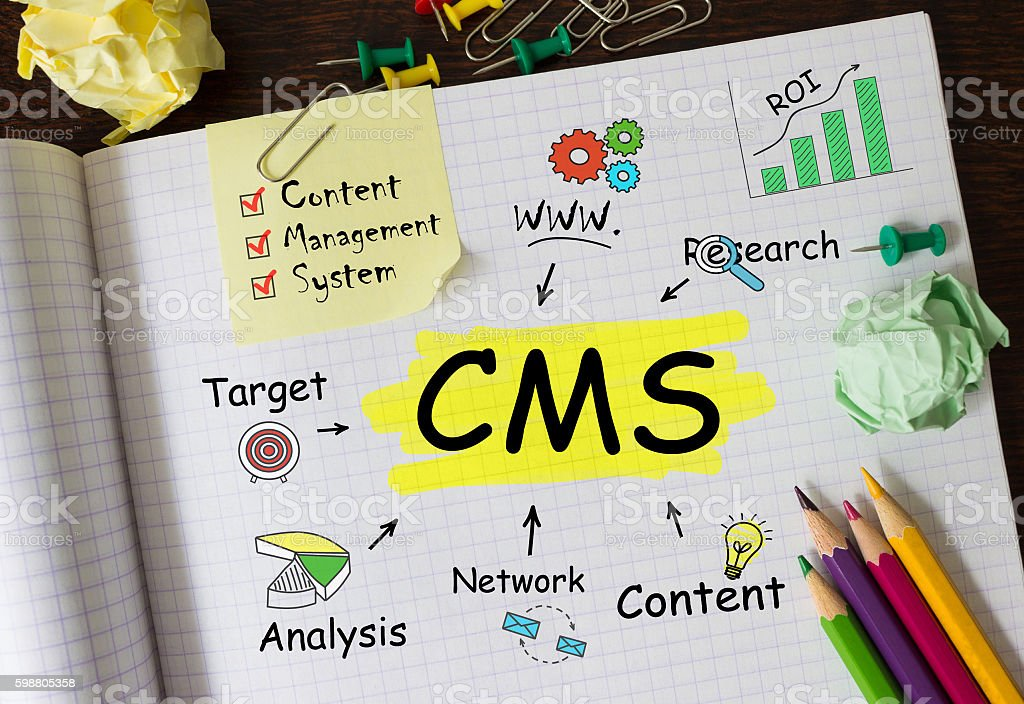 Notebook with Toolls and Notes about CMS,concept stock photo